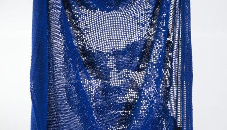 Azul de Metileno - Tejido en croché basado en imagen de El Tiempo del 16 de febrero de 2015. 130 cms x 170 cms. aproximadamente.